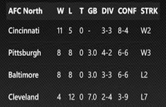afc north standings 2013